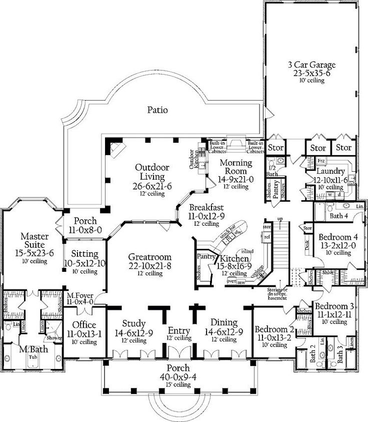 Best One Level Plans Images On Pinterest Architecture Dream - 6 bedroom country house plans