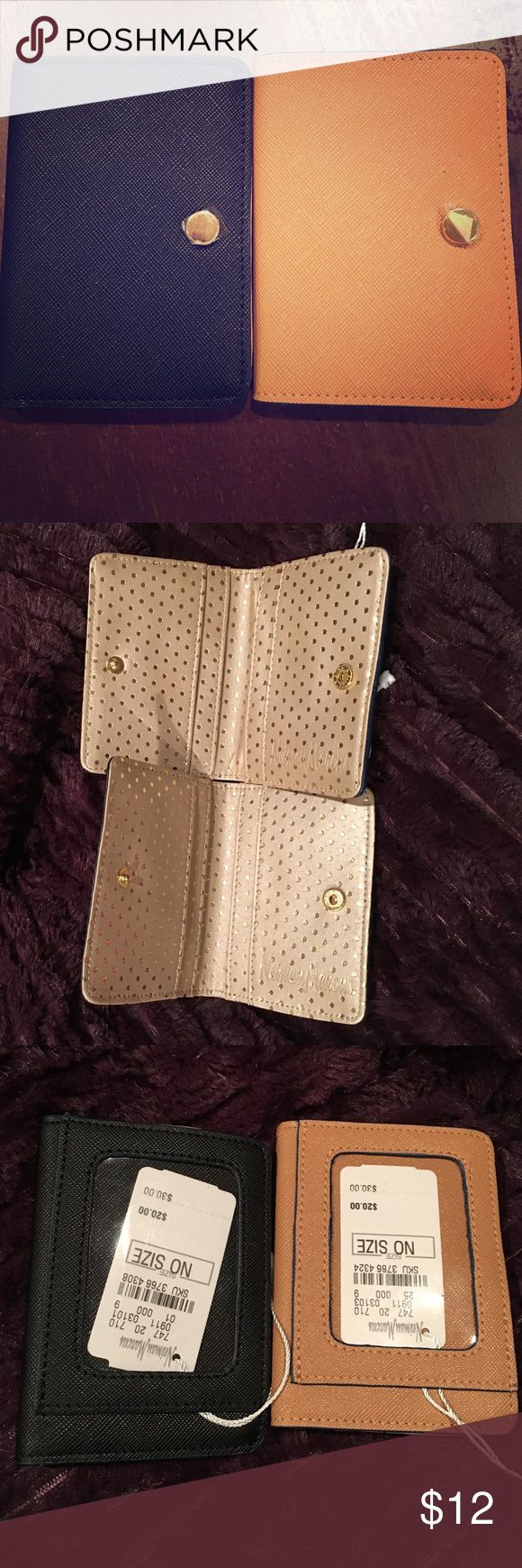 Neiman Marcus Credit Card Holder Wallet NWT leather card holder/ mini wallet. Snap button closure. 4 card slots interior, one slot exterior. gold metallic polka dot pattern interior. *Two colors* one black, one light brown! PLEASE SPECIFY WHICH ONE YOU WANT ✨ Neiman Marcus Accessories Key & Card Holders