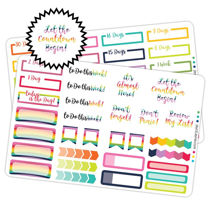 30 Day Countdown Stickers at jaycilayne! Add these colorful stickers to your Planner to count down the days of your excitement!