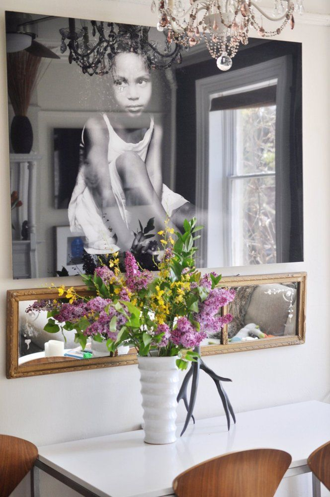 House Tour: A Timeless Mix of Styles in Brooklyn | Apartment Therapy (note: use of mirror under large piece - unexpected but it works!)