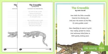 The Crocodile Handwriting Poem Activity Pack - English, handwriting ,Australia, crocodile, lewis carroll, poem, poetry