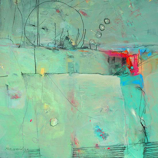 "Canvas Art, Robert Burridge, Artist, ""Breeze"", acrylic & combined media on paper, 20x20 inches"