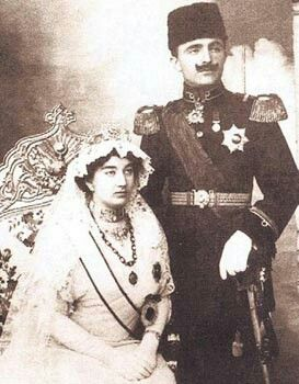 Princess Naciye and Enver Pasha at the wedding. 1914.