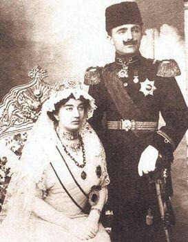 Princess Naciye and Enver Pasha at the wedding. 1914.