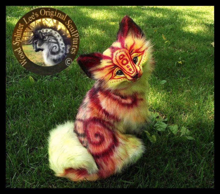 Handmade Poseable FIRE FOX by WoodSplitterLee.deviantart