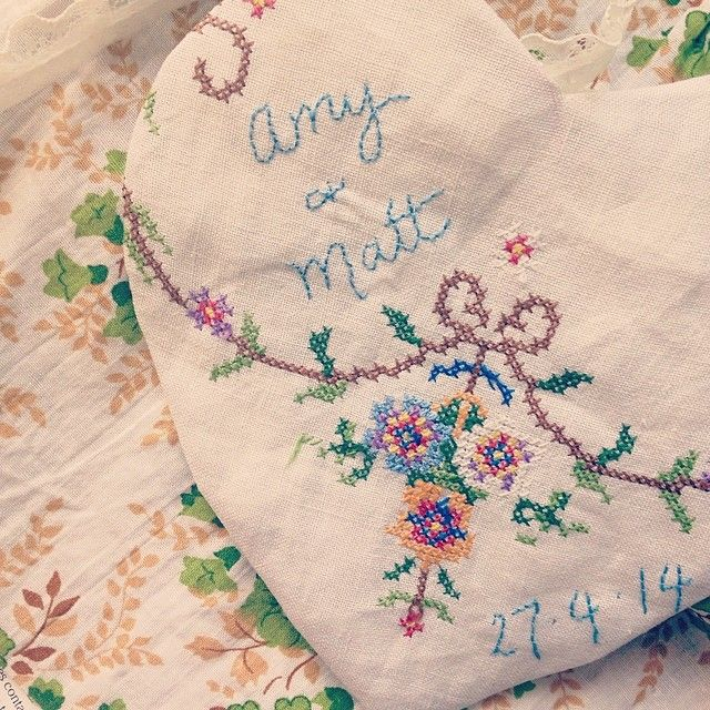 Little things. I've been collecting vintage embroideries for about 8 months now to make a quilt for my bed. But I couldn't resist using part of one to make a little something for a special bride-to-be.  { Gertrude Made } #countrystyle #vintage #vintagelove #vintagewedding #countrywedding #handmade #littlethings #love #linen #keepsake #imadethis #vintagebride www.gertrudemade.com