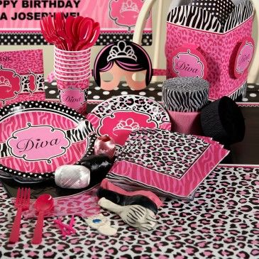 diva+zebra+print+deluxe+party+pack+for+8 maybe for ella's 3rd ...
