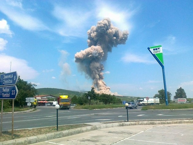 An explosion is seen in an area near the village of Lozenetz, some 330 km (200 miles) east of the Bulgarian capital of Sofia, June 5, 2012.