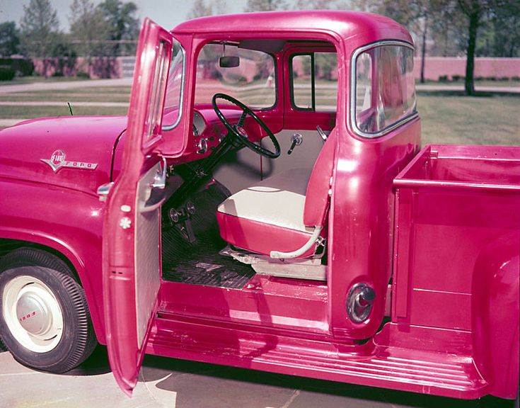 """Pink 1955 Ford F100 Pickup - If """"Hector"""" can't be original...then this is what WILL happen..... and we shall name her Hettie"""