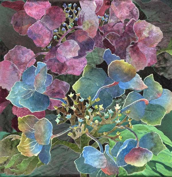 detail of Blue Lacecap Hydrangea 2 by Amanda Richardson -- fabric collage with hand-painted silks!