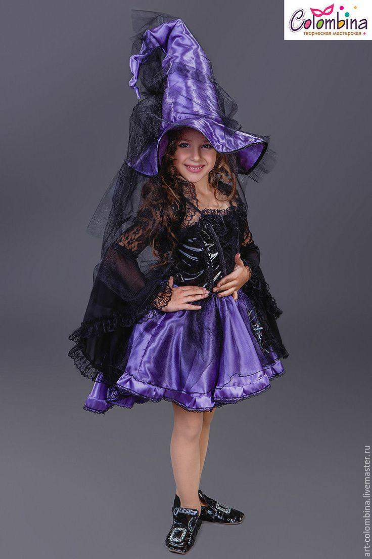 Купить Костюм ведьмы - тёмно-фиолетовый, колдунья, ведьма, костюм ведьмы, костюм колдуньи, атлас