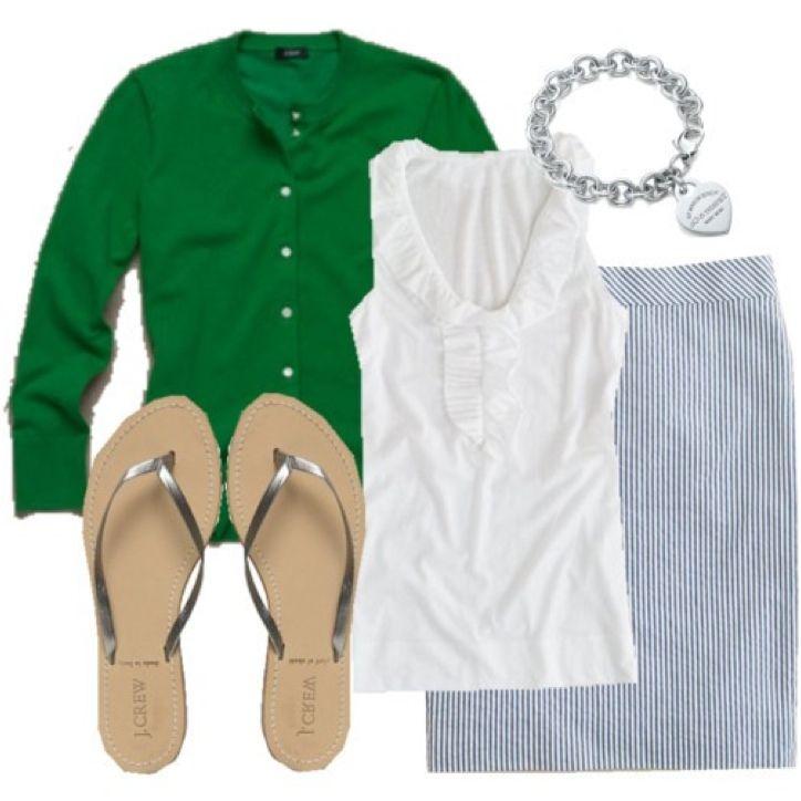 seersucker skirt & cardigan..LOVE