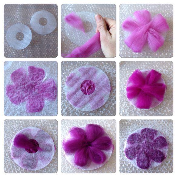 Nu när jag har en massa färgglad ull att leka med passade jag på att tova några blommor. Om man vill tova flera lager av kronblad på en gång så måste man lägga något mellan de olika lagren av ull. …