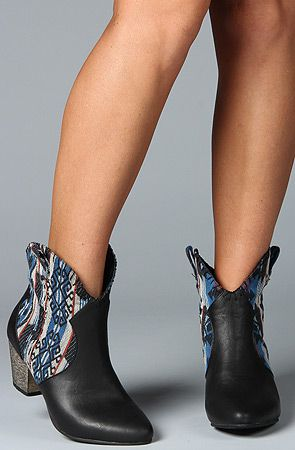 leather + patterned textile boots.