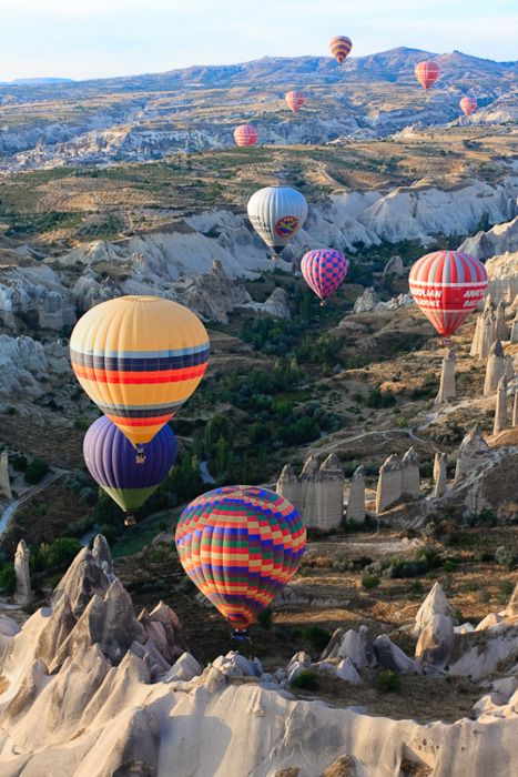 Hot air balloons fly over Cappadocia, Turkey