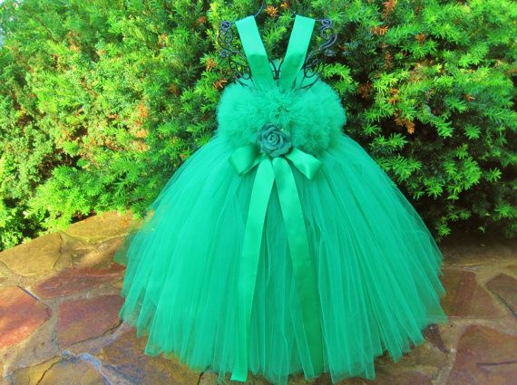 Tutu Dress, KELLY GREEN ROSE, Elastic Full Fluffy Top, Toddlers 2-4 T, Birthdays, Wedding Flower Girls, Photo Props, Parties, Gorgeous Gifts...