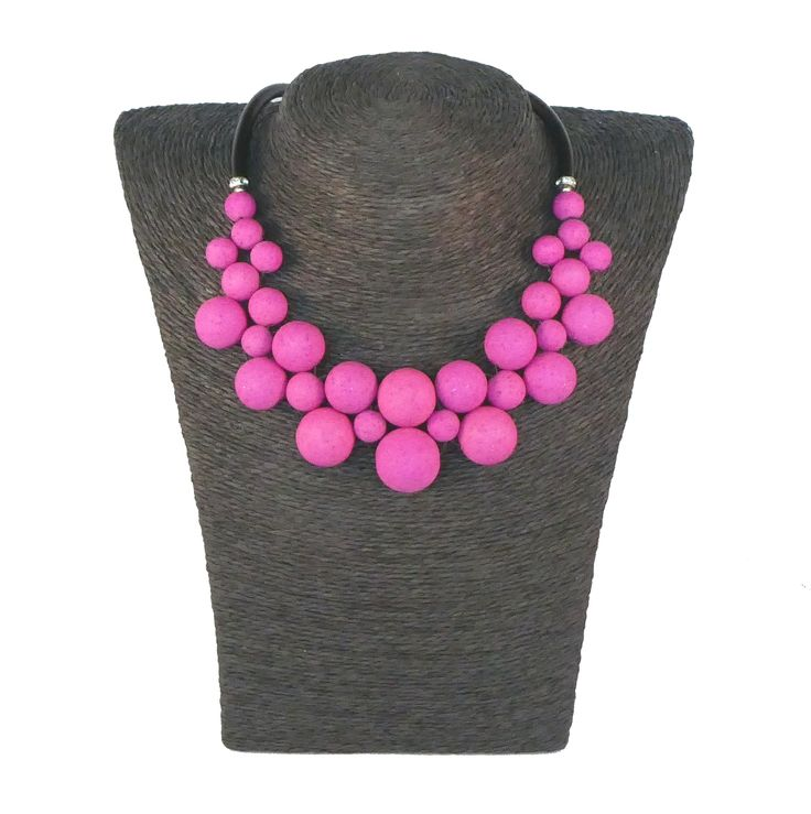 Statement necklace polaris beads and rubber cord with stainless steel clasp