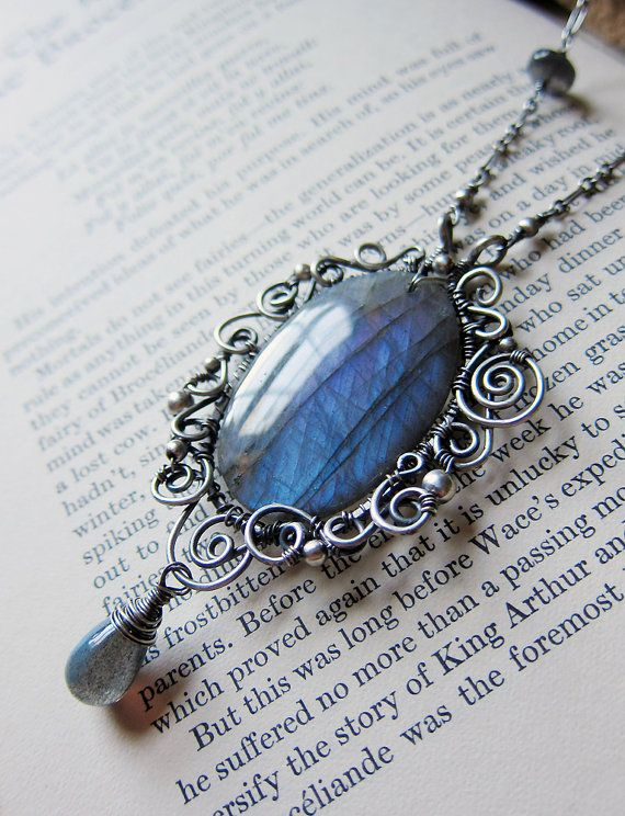 The Mirror-Pool of Avalon - A Magical Purple and Blue Labradorite Pendant in Sterling Silver