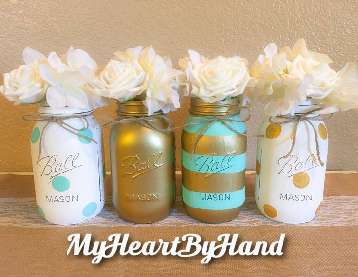 Teal And Gold Baby Shower Decorations, Baby Shower Mason Jars, Teal And Gold  Bridal