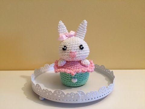 coniglietto cake amigurumi (tutorial-schema)/How to crochet rabbit cupcake amigurumi - YouTube