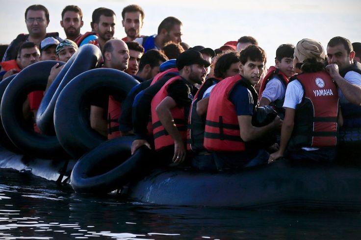 Syrische Flüchtlinge kommen auf einem Boot nach Kos: Die Insel nahe der türkischen Küste erlebt - wie auch andere griechische Inseln - seit Monaten einen Ansturm. Hunderte Menschen landen nach Angaben der Küstenwache allein hier jeden Tag an.