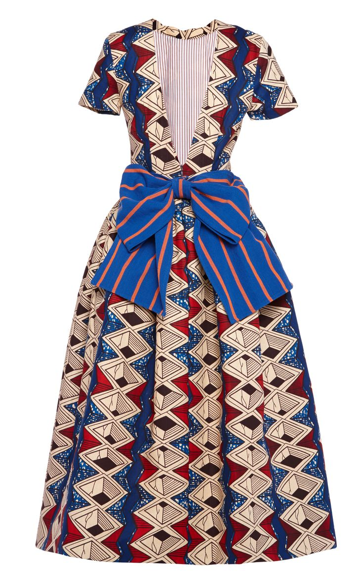 Myrtle Printed Wax Cotton Party Dress With Striped Bow by Stella Jean for Preorder on Moda Operandi
