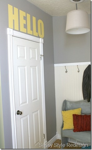 Grey and Yellow: Mudroom Entryway, Hello Words, The Doors, Creative Blog, Entry Ways, Home Entry, Hello Hello, Addi Style, Creative Entry