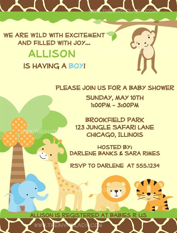 39 best jungle themed baby shower images on pinterest, Baby shower invitations