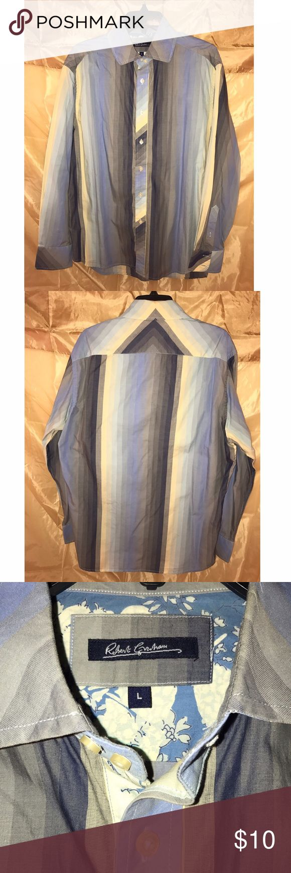 Men's Robert Graham Shirt Men's Robert Graham button up shirt for sale. Blue/gray/yellow stripes and very trendy. Robert Graham Shirts Casual Button Down Shirts