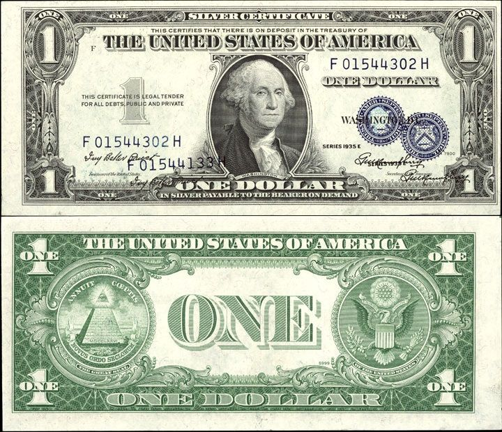 Us 1 Dollar Note Error Note Series 1935 E Serial F01544302h And F 1544133h Signatures Priest Humphrey T One Dollar Bill Dollar Money Fake Money