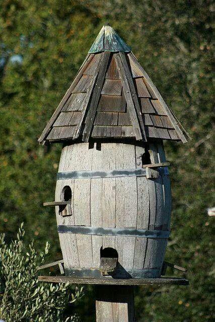 Wine barrel birdhouse