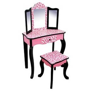 Your little fashionista will absolutely love the glamorous Teamson Kids Vanity Table and Stool Set in Leopard. This super-cute vanity set is so fabulous! A traditional Queen Anne style vanity gets shrunk down to a kid friendly size and spruced-up big time. The bright pink and black painted vanity and stool have fun hand painted leopard accents that really make it pop. A three-way mirror and a storage drawer for accessories make it a perfect place to play dress-up.