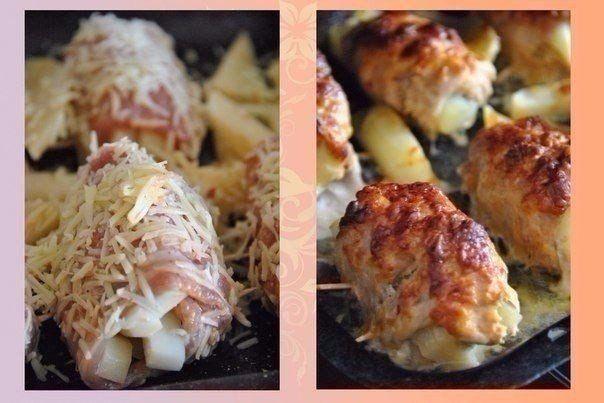 Приготовление:1. Свинину режем длинными пластинами.2. Солим, перчим, добавляем майонез, аджику. Хорошо перемешиваем.3. Даем замариноваться минут 30.4. Картофель режем на терке для картофеля фри.5. …