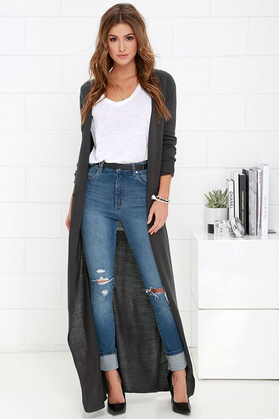The Long Haul Dark Grey Long Cardigan Sweater at Lulus.com!