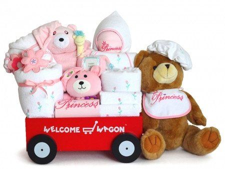 Super Deluxe Baby Girl Welcome Wagon Gift Set  - Stork Baby Gift Baskets  Welcome the new baby girl with this deluxe wagon full of gifts!
