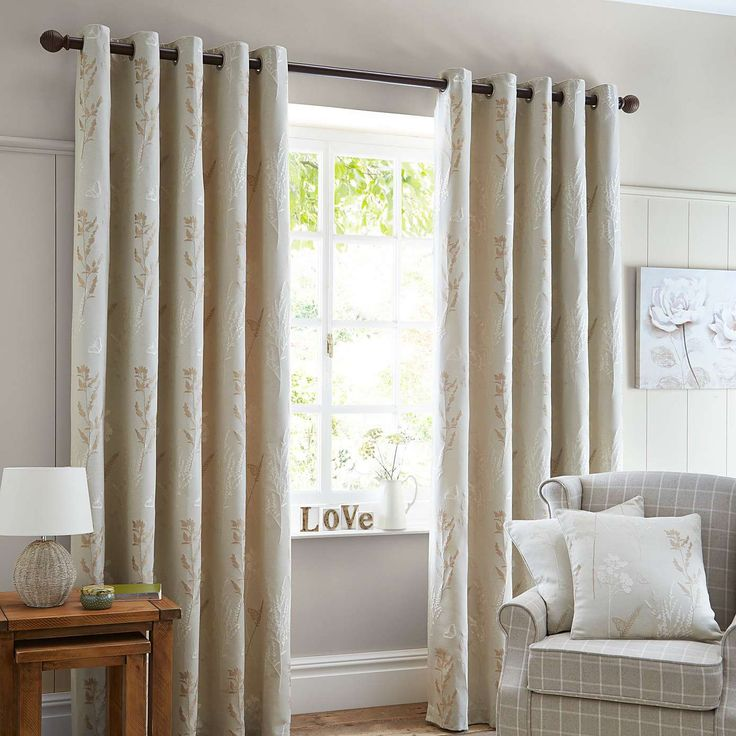 Pastures Natural Lined Eyelet Curtains | Dunelm