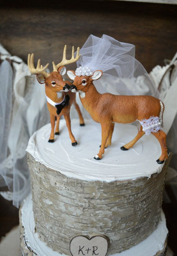 Buck and doe wedding cake topper-Deer hunting wedding cake topper-hunting-country western-deer-wedding cake topper