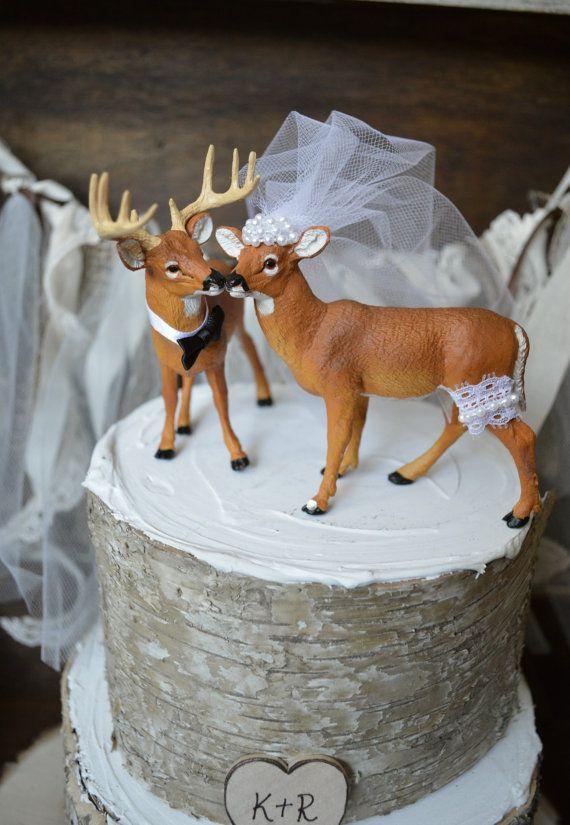 Buck y doe pastel de boda topper-venado caza por MorganTheCreator