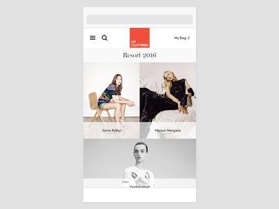 一种展示店铺详情页/商品分类列表页的方法,中间的红色图片正好可以展示商店的图标或商标。整个界面,大气简约和时尚。另外,提一点图片上加一个半透明矩形显示文字这种设计,有个前提是图片铺满了整个样式,文字显示在图片上面,加个半透明矩形是为了让文字显示更清楚。如果图片和文字不是互为上下层级的,就没必要这样设计了。