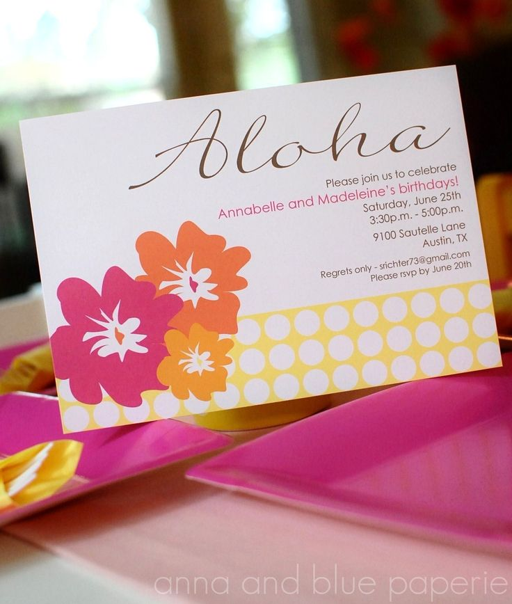 luau wedding invitation templates%0A Aloha Summer by anna and blue paperie