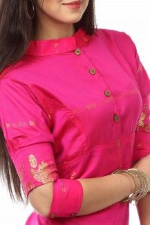 Stand Collar Cut -Cuff Pencil Fit Dress By Nesavaali