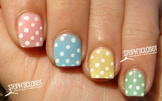 cute, wonder if they girls will let me for easterNails Art Ideas, Nails Design, Spring Nails, Polka Dots Nails, Pastel Colors, Easter Eggs, Nails Art Design, Easter Nails Art, Nail Art