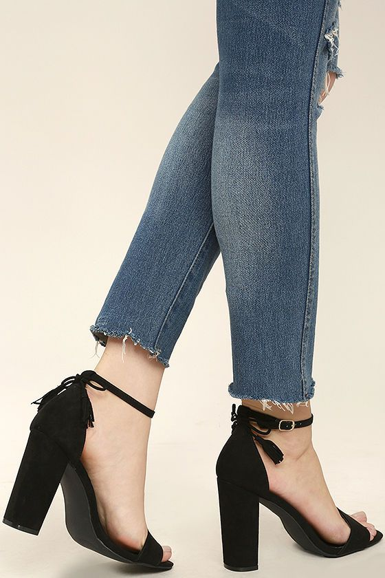 Off to Aruba Black Suede Ankle Strap Heels