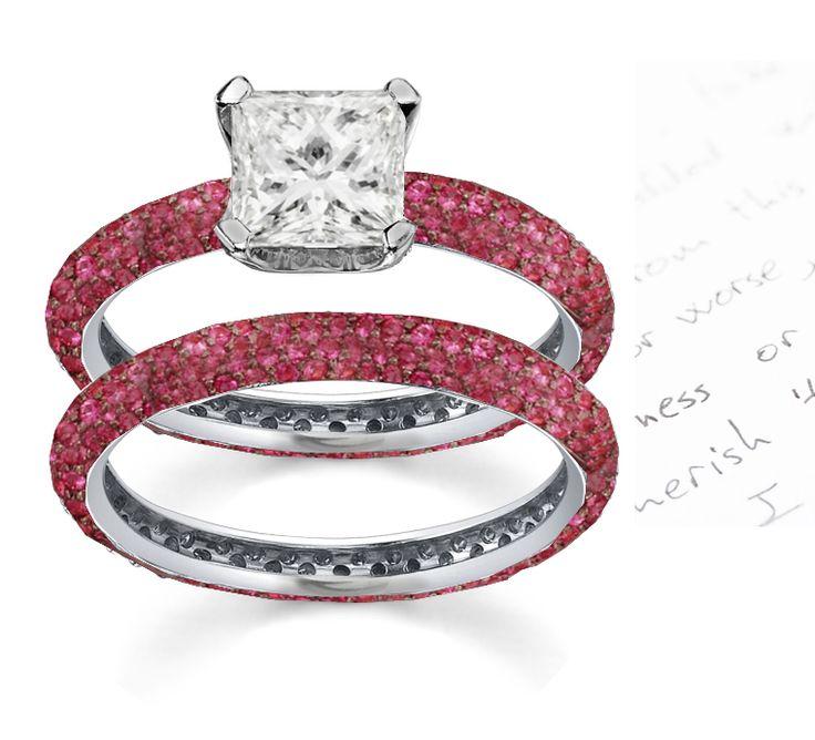 Unique Platinum Diamond Engagement Ring with Round Rubies and Princess Cut Diamond