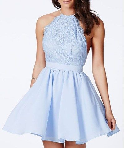 Baby Blue Lace Homecoming Dress,Backless Prom Dress,Sexy Halter with Spaghetti Strap Evening Dress