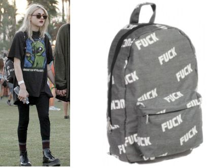 Frances Bean Cobain Wears An O Mighty Fuck Backpack In The