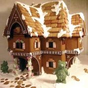 Rebecca Russell, of Wedding Cake Toppers and Gingerbread, created her Swiss-chalet-style Bear House in less than a week using a variety of techniques and tools. In addition to traditional baking tools, Russell also used utility knives to cut roof shingles before baking to give the overall piece a more rustic appearance. Wood rasps and X-Acto knives were used to shave away distortion that takes place during baking. Russell uses a sturdy foam base and recommends protecting gingerbread houses…