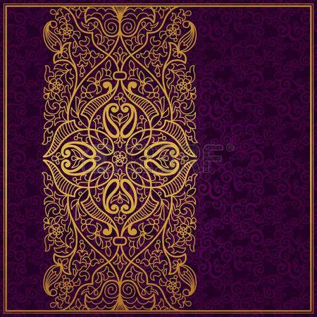 Vector ornato frontiera in stile orientale. Elemento di design splendido, posto per il testo. Modello vintage ornamentale per gli inviti di nozze e biglietti di auguri. Decorazione oro tradizionale su sfondo viola. photo