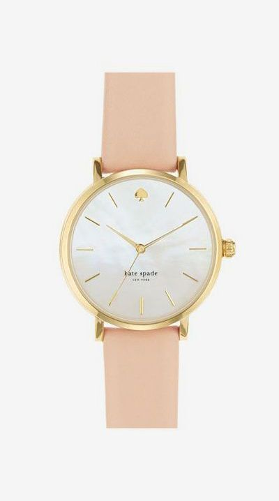 'metro' round leather strap watch