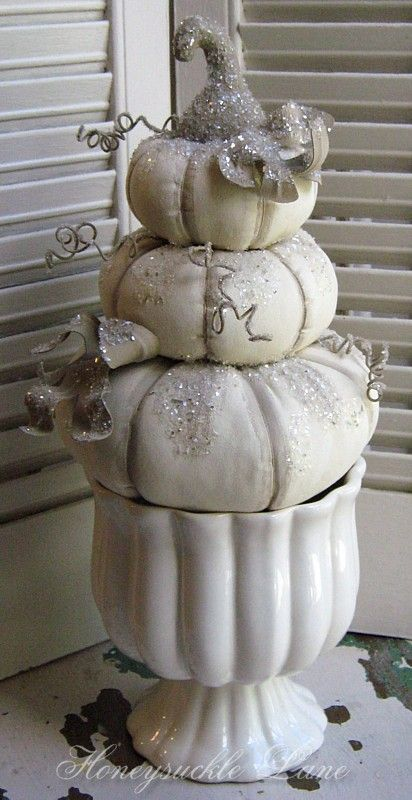 White glass glitter pumpkins made by Lana Manis of Honeysuckle Lane. Will be re-stocking soon in NEW shop! www.honeysucklelane.bigcartel.com #autumn #decor #fall #pumpkins
